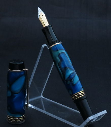Black and Gold Blue Acrylic Fountain Pen